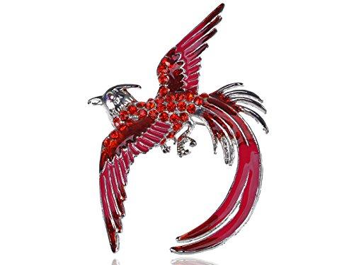 ALILANG Damen Silber Rot Strass Emaille Pink Phoenix Vogel Flügel Federn Brosche