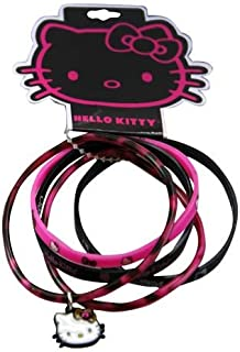Sanrio Hello Kitty 5 pc Rubber Ring Bracelet with Hello Kitty Face Charm