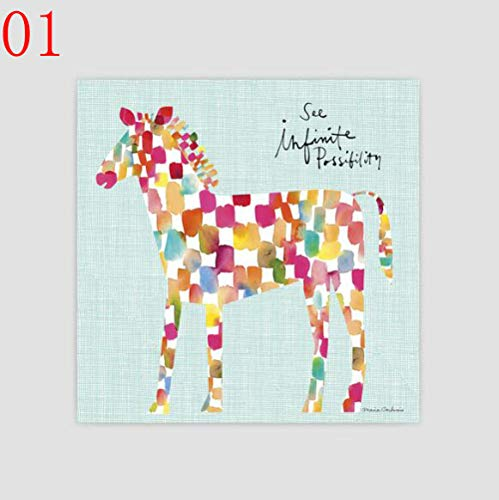 Cartoon Abstracte Schilderijen Ballon Gevlekt Paard Posters Stijl Afdrukken Woonkamer Decor 40x40cm Geen lijst ASD458 01
