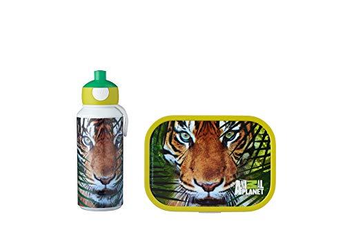 Mepal Pausenset Campus Animal Planet Tiger – Trinkflasche und Brotdose mit Bento-Einsatz – ideal für Schule und Freizeit – spülmaschinenfest, ABS, 0 mm, 2