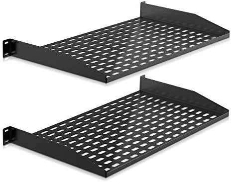 2 Pc 1U Server Rack Shelf Vented Shelves for Good Air Circulation Cantilever Mount Wall Mount product image