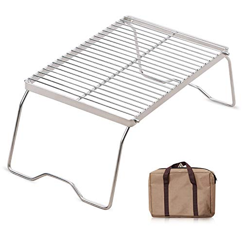 RedSwing Folding Campfire Grill, Heavy Duty 304 Stainless Steel Grate, Portable Camping Grill with Legs and Carrying Bag, Medium