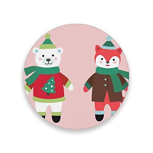 Juego de posavasos absorbentes de Ruchen, con diseño de animales de Navidad, zorros, osos polares y cerámica, cerámica, 1 pieza