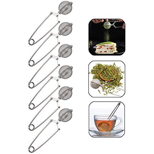 Infusor de té Estilo de Infuser del té Tamiz Filtro de té de Mango Largo Infusor de té Coladores de té Con Forma de Bola Coladores de té para Amantes Del té Suelto Para Amantes del té Suelto(6 Piezas)