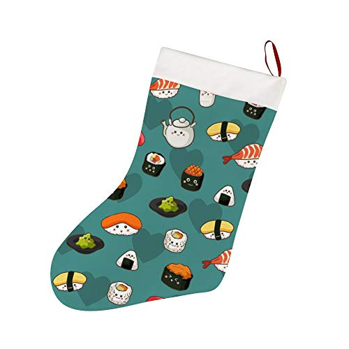 FFCrying Sushi Pattern Christmas Stockings Personalized Xmas Stockings Hanging Ornaments Candy Gift Bags for Family Christmas Decoration Party Supplies