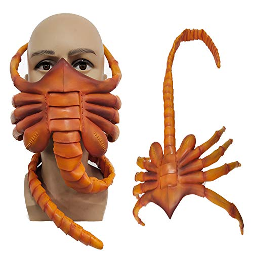 LLH Alien Facehugger Mask Xenomorph Hugger Cosplay Costume Masks Scary Latex Halloween Party Props Yellow