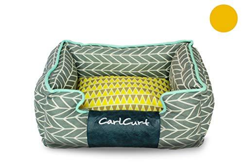 CarlCurt - Fashion Line: Kuschelweiches Hundebett Mit Angenehmen Weichen Kissen Und Strapazierfähigen Außenteil Aus Leinengwebe, XS 48 x 42 x 20cm, Blau-Grau