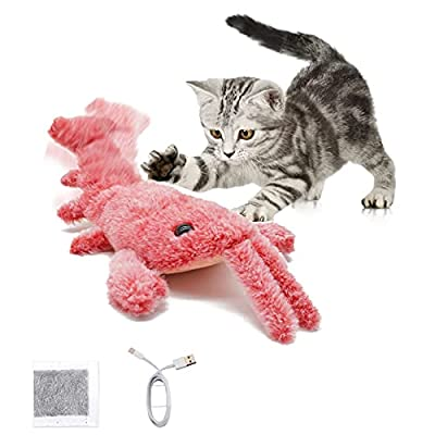 Ravitee Catnip Cat Toys, Electric Lobster Cat Toys, Realistic Flopping Fish Cat Toy, Cat Teething Toys For Indoor Cat, Pet, Puppy, Dancing Cat Toys, Chewing Supplies For Kittens, Washable, USB Charge