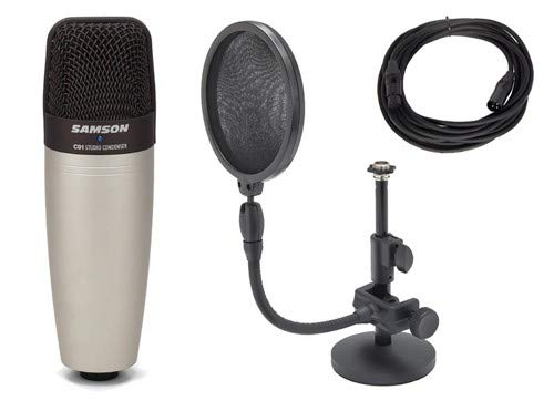 Samson C01 Condenser Microphone with Pop Filter, Microphone Stand, and Cable