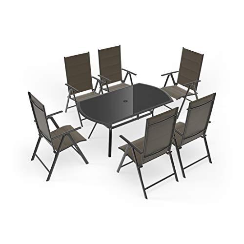 GS1 Suiza - Juego de Comedor de jardín de Seis plazas con Mesa y sillas, Color marrón