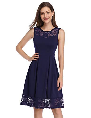 KOJOOIN Damen Elegant Kleider Spitzenkleid Ohne Arm Cocktailkleid Knielang Rockabilly Kleid Blau Dunkelblau L