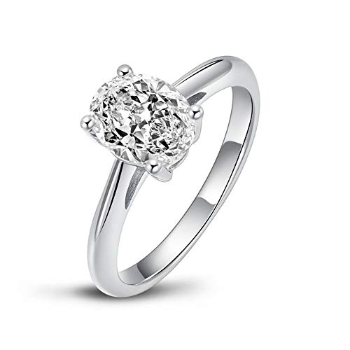 AINUOSHI 925 Sterling Silver 2 Carat Oval/Pear/Round Cut Solitaire 5A+ Cubic Zirconia Engagement Ring for Women Size L1/2