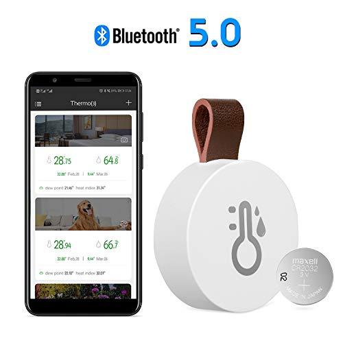 [2020 NEW] Esolom Bluetooth-Funkthermometer Hygrometer,Kabelloses Sensor mit Beacon, Datenlogger und Daten Export, Fernüberwachung für Temperatur, Luftfeuchtigkeit Für iOS und Android