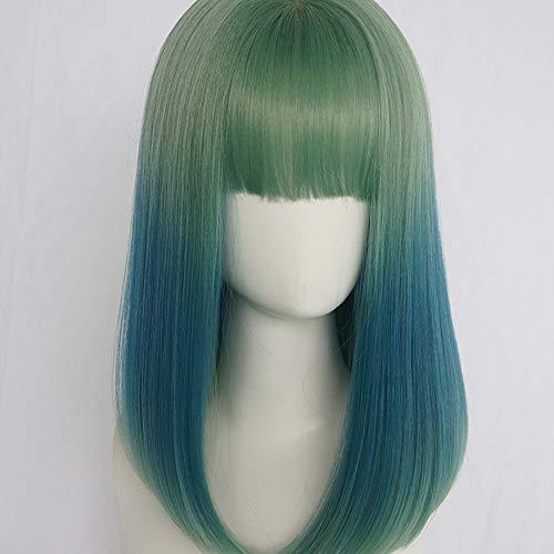 LSJFD Perruqueperruque Femme Air Frange Courte Cheveux Raides Vert Dégradé Bleu Visage Rond Long Cheveux Raides Cheveux Clavicule Naturelle