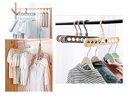 Magic Hanger Space-Saving Hanger Multifunctional Smart Wardrobe Magic Hanger Premium Wardrobe Clothing Stacking Hanger 9 Slots (Pack of 4)