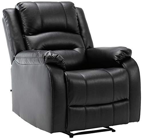 CLP Sessel Kerpen I Kunstleder I Echtleder I Ruhesessel Mit Liegefunktion I Fernsehsessel, Farbe:schwarz, Material:Echtleder