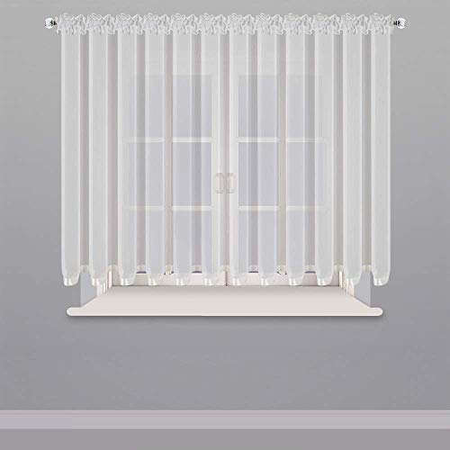 Schöne Fertiggardine Fenster Gardine aus Voile mit Faltenband Kräuselband Weiß 150x300 cm LB-80 (150 x 300 cm)