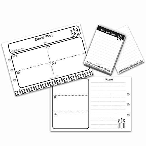 SinnWunder® 30 Blatt Premium Menü-Planer, Essens-Plan - Mit Einkaufs-Block, Einkaufs-Liste und Lieblingsgerichten - Für 6-Ring Planer Größe Din A5 (14,8 x 10 cm)