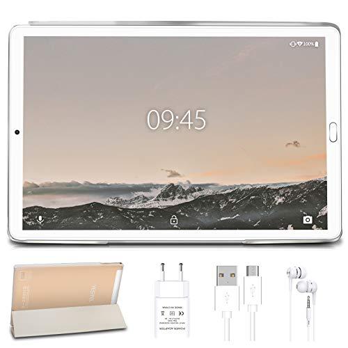 Tablet 10.0 Pulgadas YESTEL Android 10.0 Tablets con 4GB RAM + 64GB ROM/WiFi | Bluetooth | GPS, 8000mAH con Cubierta-Dorado…