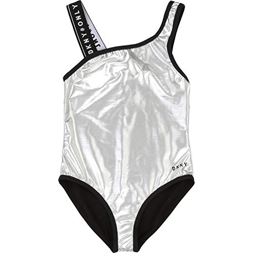 DKNY Kids Swimsuit Asymmetrical with Logo Details - Silver - 8 Years