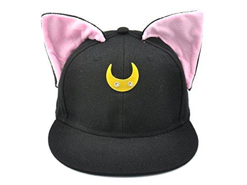 CoolChange Gorra de béisbol de Sailor Moon con Orejas de Gato, Negro