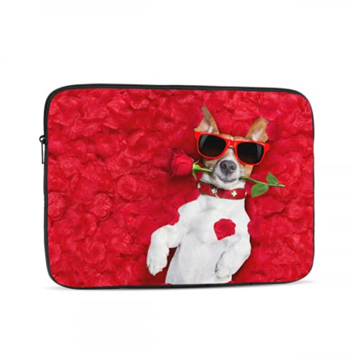 Macbook Pro 13in Case Dog Lying In Bed Full of Red Flower 2018 Macbook Air Case Multi-Color & Size Choices 10/12/13/15/17 Inch Computer Tablet Briefcase Carrying Bag