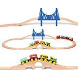 umu Wooden Train Set Railroad Track for Kids, Compatible to Thomas Train Toys Railway and Major Brands, Includes 8 Magnetic Rail Cargo Cars & 12 Tracks & 2 Bridges for 3+ Year Old Boys and Girls