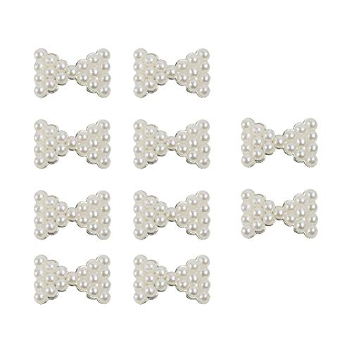 10 Pcs Nail Art Stickers White Pearl Bow Tie Nail Art Tips 3D Alloy Nail Art Slices DIY Decorations