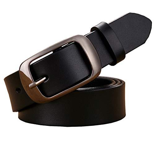 Fashion Echtes Leder Gürtel Für Frauen Dornschließe Dünne Frau Gürtel Gute Zweite Schicht Rindsleder Jeans Strap Weiblich Black 100cm