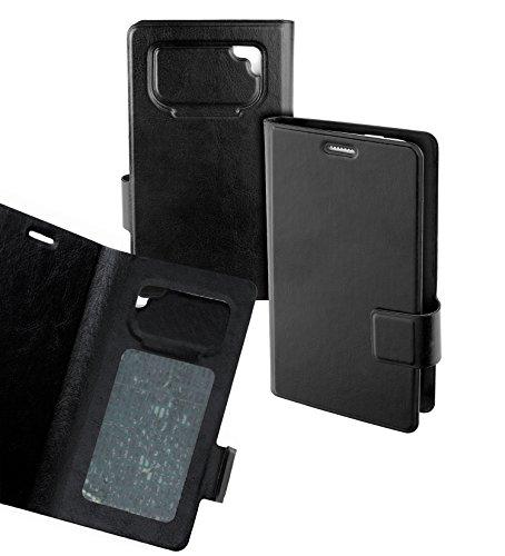 yayago Book Style Case Haftklebe Tasche für Mobistel Cynus F6 Handy Smartphone Etui Hülle Black Size XL