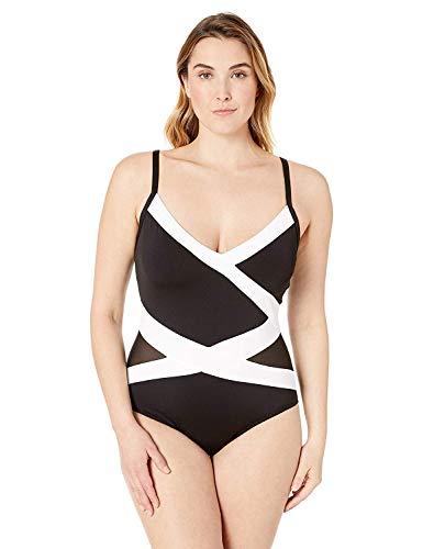 Anne Cole Women's Plus-Size Insert Asymmetric Spliced One-Piece Swimsuit, Color Block mesh Black White, 18W
