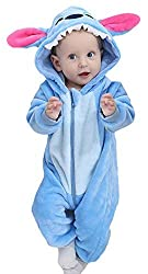 High quality flannel plush material,skin friendly and comfortable,cute cartoon animal jumpsuit style,a great daily onesie pajamas and fancy sleepsuit. Size:[0-6Months]--Chest:23.62inches,Length:25.6inches,suit for height:59-65CM.[6-12Months]--Chest:2...
