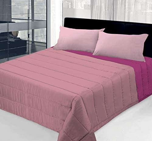 Colcha de 100 g de doble cara lisa para cama individual - 1 plaza y media - matrimonial (rosa/fucsia, matrimonial)