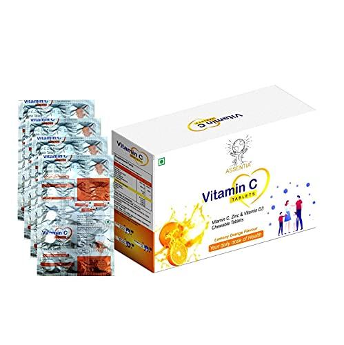 Assentia Vitamin C Chewable Tablets - Sugar Free in Tasty Lemony Orange Flavour - Easy On Stomach Vegan Friendly Formula Promotes Immunity - Skin - Gumcare, For kids Men & Women (500 Mg) (60 tablets)