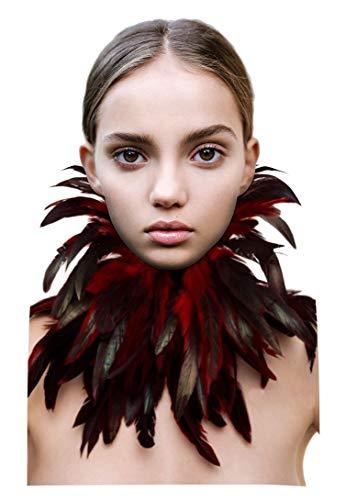 L'VOW - Collar gótico natural con plumas y alas de cuello, decoración de Halloween, carnaval, color rojo