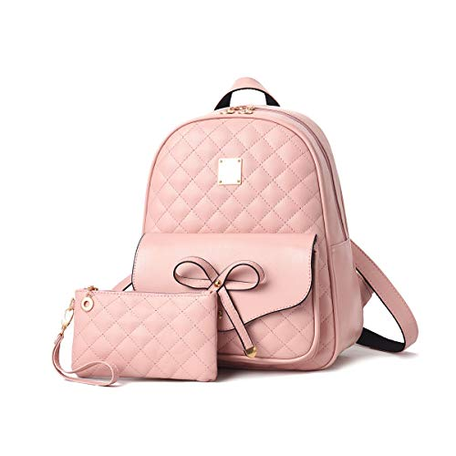 Girls Bowknot 2-PCS Cute Backpack, JOSEKO Mini Fashion Leather Backpack Purse for Women Small Daypacks Convertible Shoulder Bag Pink