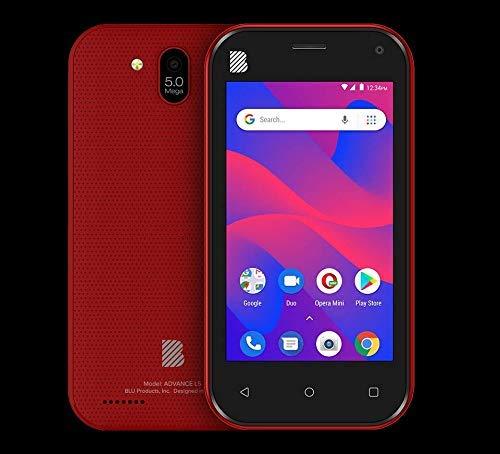 """BLU Advance L5 A390L 4"""" GSM Unlocked 16GB Dual Sim 5MP Android Smartphone (Red) (Renewed)"""