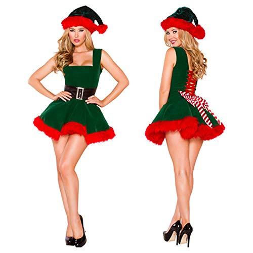 CHANGL Costume da Babbo Natale da Donna Vestito da Natale di Natale Deluxe Vestito da Natale Elfo Verde Vestito Dolce
