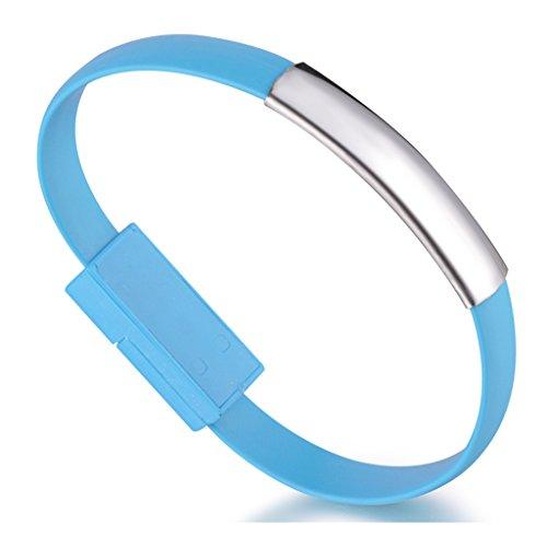 Unendlich U, Super elegante bracciale caricabatterie USB e cavo dati per Iphone Apple5/5s/5c/6/6s/6 Plus/6s Plus, iPod e iPad, 6 colori disponibili, colore: Blau, cod. b00202-Bleu-bracelet