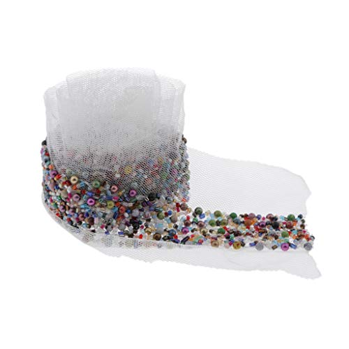 Sharplace Spitze Band mit bunter Perlen, Zierband Dekoband Perlenband Spitzenborte Zum Nähen DIY Brautkleid Dekorationen - Weiß