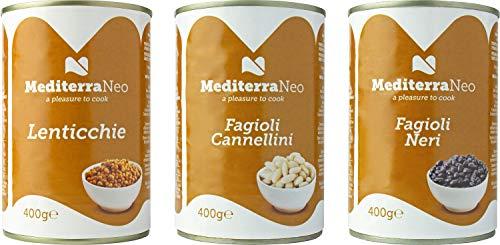 MediterraNeo - Gemischte Bohnenkonserven - (2 x 400g Weiße Cannellini-Bohnen, 2 x 400g Linsen, 2 x 400 g Schwarze Bohnen)