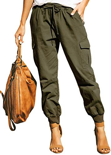 Ohvera Women's Solid High Waist Cargo Pants Joggers Trousers with Drawstring Tie Pockets Green X-Large
