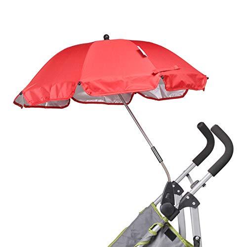 YQY Sombrilla para bebé Sombrilla para bebés Sombra Desmontable, Paraguas Ajustable Sombra Plegable Sombra para bebé Carriajes Senderismo Actividades al Aire Libre 75 Diámetro,Rojo