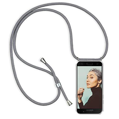 ZhinkArts Handykette kompatibel mit Samsung Galaxy A5 2017 (A520) - Smartphone Necklace Hülle mit Band - Schnur mit Case zum umhängen in Grau
