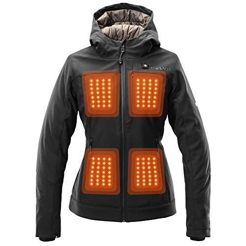Kelvin Coats Heated Jacket for Women - 10Hr Battery, 5 Heat Zones - Fullerton, Black, Large