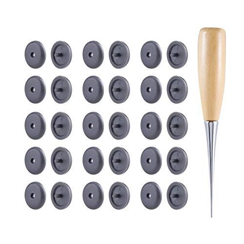 LEEQ Sicherheitsgurt-Stoppknopf Grau mit Holzgriff Ahle Kein Schweißen zum Be- und Entladen erforderlich 15 Sets