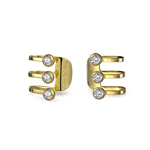 Minimalist Geometric CZ Bezel 3 Band Cartilage Ear Cuffs Clip Wrap Helix Earrings 14K Gold Plated Sterling Silver