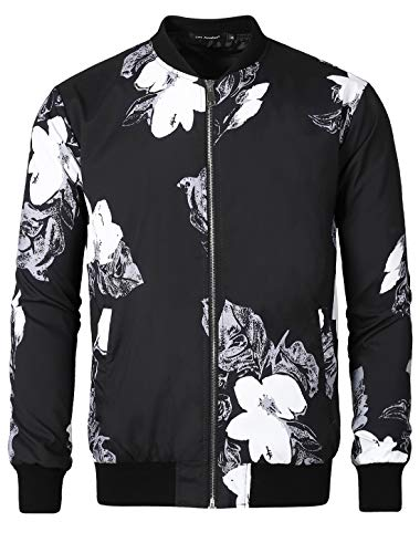 Lars Amadeus Men's Floral Camo Printed Bomber Jacket Zipper Lightweight Baseball Flight Jacket Black Large