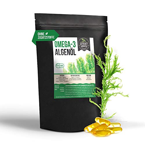 Omega-3 Algenöl | DHA 250mg EPA 150mg | 60 Kapseln 1200mg | pflanzliches Algenöl statt Fischöl - hohe Dosierung | 100% vegan