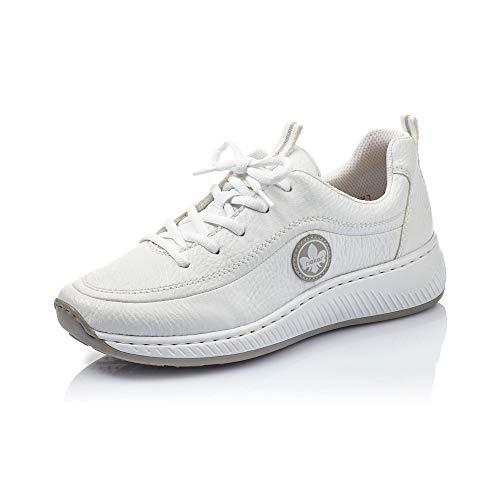 Rieker Damen Schnürhalbschuhe N5504, Frauen sportlicher Schnürer, Halbschuh schnürschuh strassenschuh Sneaker keil,Weiss/Cement / 80,36 EU / 3,5 UK